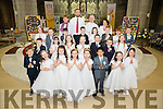 Pupils from Scoil Saidhbhin, Cahersiveen who made their First Holy Communion in the O'Connell Memorial Church Cahersiveen on Saturday were front l-r; Jakub Alberski, Mary Kate Crowley, Lily O&rsquo;Brien, Rayna Hunt, Katie Foster, Kevin Weng, Lola O&rsquo;Neill, Jennifer O&rsquo;Sullivan,<br /> 2nd Row l-r; Evan Mc Carthy, Nicole Devlin, Ciara Clifford, Niamh McCarthy, Alex Gibbons, Jason O&rsquo;Connell, Sarah O&rsquo;Connor, 3rd Row l-r; Caoimhe O&rsquo;Donoghue, Daith&iacute; Sugrue, Daithi Carroll, Niall O&rsquo;Sullivan, Lexie O&rsquo;Donoghue, Jakub Derylak, Katie Coffey, Marc O&rsquo;Connor, back l-r; Helena Stretton (SNA), Joseph Moore (Teacher), Fr. Larry Kelly, Mary Sugrue(Principal).