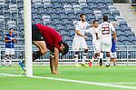 Stockholm 2014-07-31 Fotboll Europa League IF Brommapojkarna - Torino FC :  <br /> Torinos Paulo Barreto har gjort 0-3 och jublar med lagkamrater medan Brommapojkarnas Gabriel Petrovic deppar i f&ouml;rgrunden<br /> (Foto: Kenta J&ouml;nsson) Nyckelord:  BP Brommapojkarna IFB Tele2 Arena Europa League Torino FC TFC Italien Itay depp besviken besvikelse sorg ledsen deppig nedst&auml;md uppgiven sad disappointment disappointed dejected jubel gl&auml;dje lycka glad happy