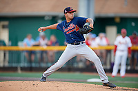 Danville Braves starting pitcher Matt Rowland (27) delivers a pitch during a game against the Johnson City Cardinals on July 28, 2018 at TVA Credit Union Ballpark in Johnson City, Tennessee.  Danville defeated Johnson City 7-4.  (Mike Janes/Four Seam Images)