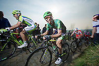 Antoine Duchesne (CAN/Europcar) up the Paterberg (max 20%)<br /> <br /> 57th E3 Harelbeke 2014