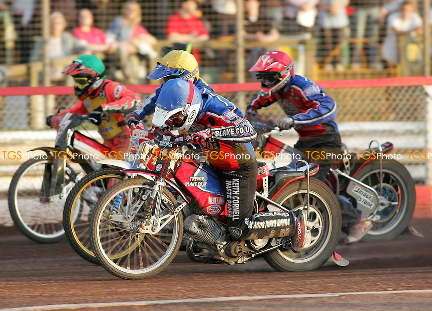 Heat 8 - Hurry (blue), Harding (yellow), Bager, Fisher - Lakeside Hammers vs Eastbourne Eagles - Elite League Speedway at Arena Essex - 15/06/07 - MANDATORY CREDIT: Gavin Ellis/TGSPHOTO - SELF-BILLING APPLIES WHERE APPROPRIATE. NO UNPAID USE -  Tel: 0845 0946026