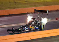 Oct 18, 2019; Ennis, TX, USA; NHRA top fuel driver Cory McClenathan during qualifying for the Fall Nationals at the Texas Motorplex. Mandatory Credit: Mark J. Rebilas-USA TODAY Sports