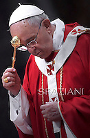 Pope Francis during  holy mass of Pentecost Sunday in Saint Peter's Basilica  Vatican.8 June 2014