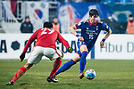 Suwon Defender Ku Jaryong (R) in action during the AFC Champions League 2017 Group G match Between Suwon Samsung Bluewings (KOR) vs Guangzhou Evergrande FC (CHN) at the Suwon World Cup Stadium on 01 March 2017 in Suwon, South Korea. Photo by Victor Fraile / Power Sport Images