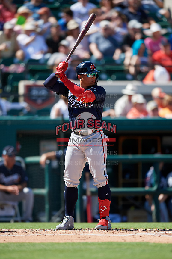Atlanta Braves designated hitter William Contreras (85) at bat during a Grapefruit League Spring Training game against the Detroit Tigers on March 2, 2019 at Publix Field at Joker Marchant Stadium in Lakeland, Florida.  Tigers defeated the Braves 7-4.  (Mike Janes/Four Seam Images)