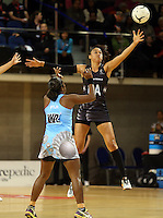 16.07.2015 Silver Ferns Maria Tutaia in action during the Silver Fern v Fiji netball test match played at Te Rauparaha Arena in Porirua. Mandatory Photo Credit ©Michael Bradley.