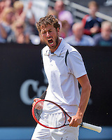 Netherlands, Rosmalen , June 10, 2015, Tennis, Topshelf Open, Autotron, Robin Haase (NED) Jubilates his victory over Verdasco<br /> Photo: Tennisimages/Henk Koster