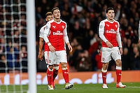 Mesut Ozil of Arsenal (left) celebrates scoring his 2nd goal of the game to make it 5-0 during the UEFA Champions League match between Arsenal and PFC Ludogorets Razgrad at the Emirates Stadium, London, England on 19 October 2016. Photo by David Horn / PRiME Media Images.
