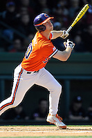 Catcher Garrett Boulware (30) of the Clemson Tigers bats in the Reedy River Rivalry game against the South Carolina Gamecocks on March 1, 2014, at Fluor Field at the West End in Greenville, South Carolina. South Carolina won, 10-2.  (Tom Priddy/Four Seam Images)
