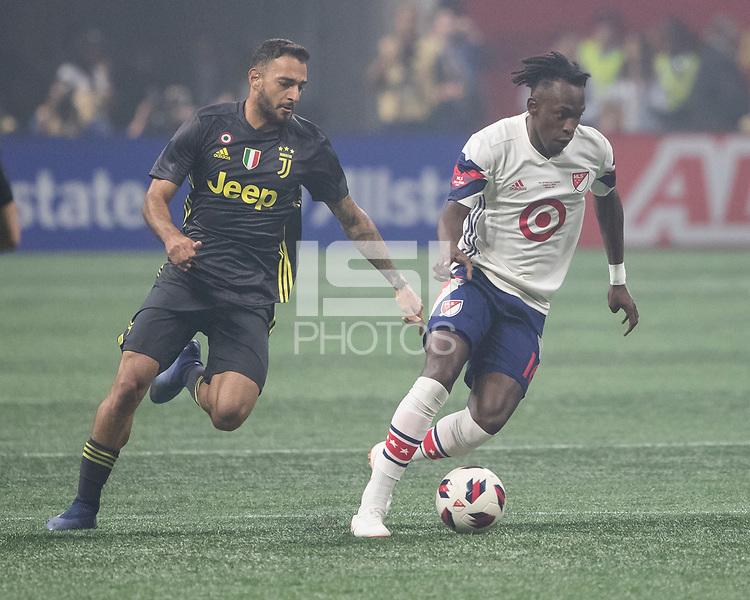 Atlanta, Georgia - August 1, 2018: Mercedes Benz Stadium, MLS All-Star Game.  Final score Juventus 1, MLS All-Stars 1, Juventus wins 5-3 on penalty kicks.