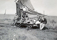 BNPS.co.uk (01202 558833)<br /> Pic: PhilMathison/BNPS<br /> <br /> After the army use declined locals adopted the unique craft for trips out to Spurn Point between the wars.<br /> <br /> To Hull and back...eccentric Inventor Phil Mathison has recreated the almost forgotten 'Spurn Landship'.<br /> <br /> Railway enthusiast Phil Mathison, 68, has researched and rebuilt the sail powered Spurn Landship, which once ferried people out along the windswept Spurn Peninsula east of Hull between the wars.<br /> <br /> The original 13 ft landship, made up of a large sail mounted on a wheeled trolley (bogie), could travel at a hair-raising 40mph. <br /> <br /> Mr Mathison, a retired economist, has been assisted on the four year project by his wife Mary, 68, and their Norwegian friend Torkel Larsen, 51. The trio have dubbed themselves the 'Spurnfleet Command' and wear astronaut-like uniforms.<br /> <br /> Despite exhaustive trials Phil and his team have only attained a top speed of 6mph so far, mainly due to fluctuating wind conditions on the test track in Derbyshire.
