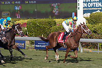 HALLANDALE BEACH, FL - JAN 06: Flameaway #1 with Julien Leparoux in the irons crossing the finishing line to win The $100,000 Kitten's Joy Stakes for trainer Mark E. Casse at Gulfstream Park on January 6, 2018 in Hallandale Beach, Florida. (Photo by Bob Aaron/Eclipse Sportswire/Getty Images)
