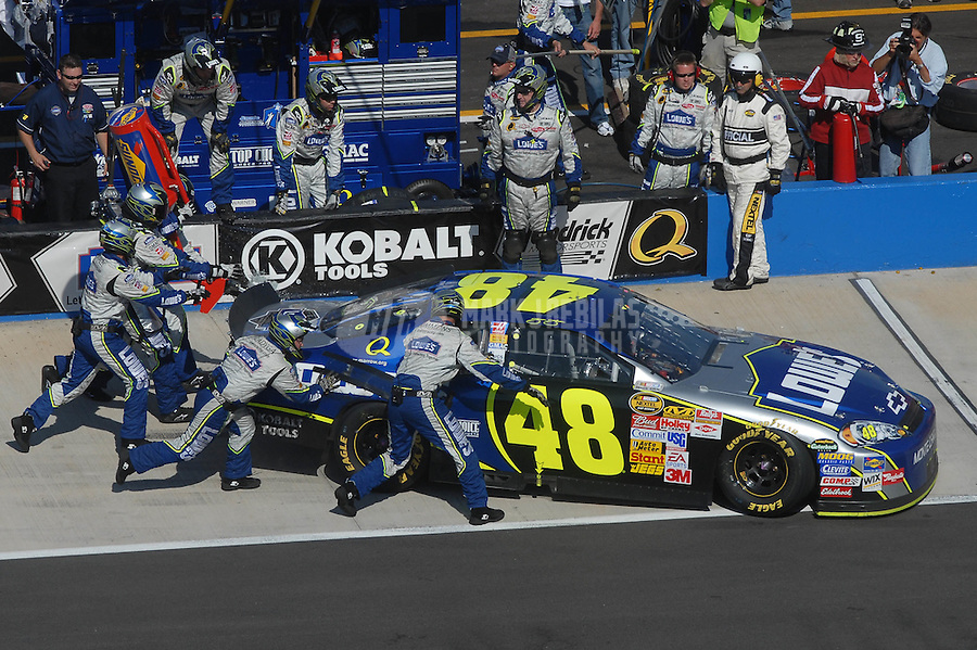 Apr 29, 2007; Talladega, AL, USA; Nascar Nextel Cup Series driver Jimmie Johnson (48) pits during the Aarons 499 at Talladega Superspeedway. Mandatory Credit: Mark J. Rebilas
