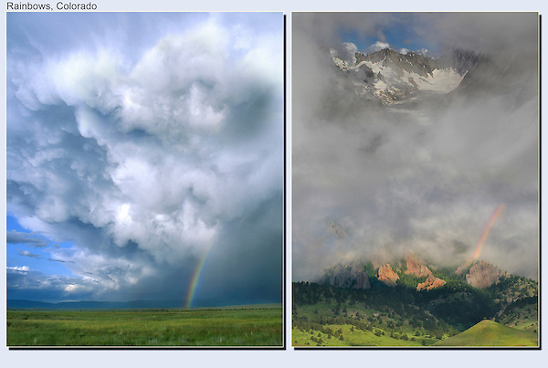 The rainbow is always opposite the sun, with the photographer in between. <br /> Eastern Colorado and the French Alps, Chamonix.