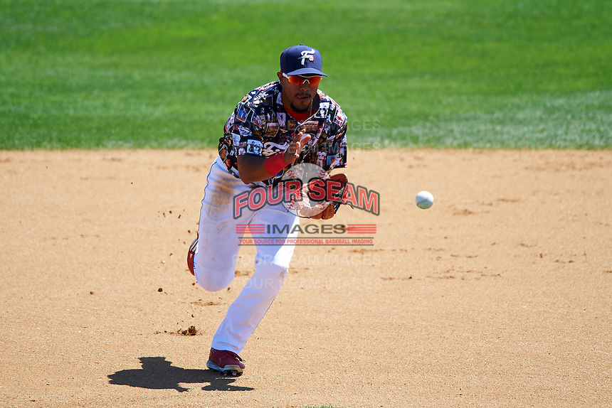 Reading Fightin Phils second baseman Jesmuel Valentin (2) fields a ground ball during a game against the New Hampshire Fisher Cats on June 6, 2016 at FirstEnergy Stadium in Reading, Pennsylvania.  Reading defeated New Hampshire 2-1.  (Mike Janes/Four Seam Images)