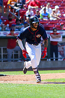 Cedar Rapids Kernels outfielder Jared Akins (30) runs to first base during a Midwest League game against the Peoria Chiefs on May 26, 2019 at Perfect Game Field in Cedar Rapids, Iowa. Cedar Rapids defeated Peoria 14-1. (Brad Krause/Four Seam Images)