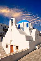 Byzantine Greek Orthodox Chapel of Panaghia Gremiotissa. Chora  (Hora), Ios, Cyclades Islands, Greece.