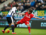 Joe Allen of Liverpool tackled by Daryl Janmaat of Newcastle United - English Premier League - Newcastle Utd vs Liverpool - St James' Park Stadium - Newcastle Upon Tyne - England - 6th December 2015 - Picture Simon Bellis/Sportimage