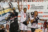 ATENCAO EDITOR IMAGEM EMBARGADA PARA VEICULOS INTERNACIONAIS - SAO PAULO, SP, 12 DEZEMBRO 2012 - COPA SUL-AMERICANA - SAO PAULO X TIGRE - Lucas  do Sao Paulo comemora a conquista da Copa Sul-Americana, no estádio Cicero Pompeu de Toledo o Morumbi na regiao sul da capital paulista na noite desta quarta-feira, 12. (FOTO: WILLIAM VOLCOV / BRAZIL PHOTO PRESS).