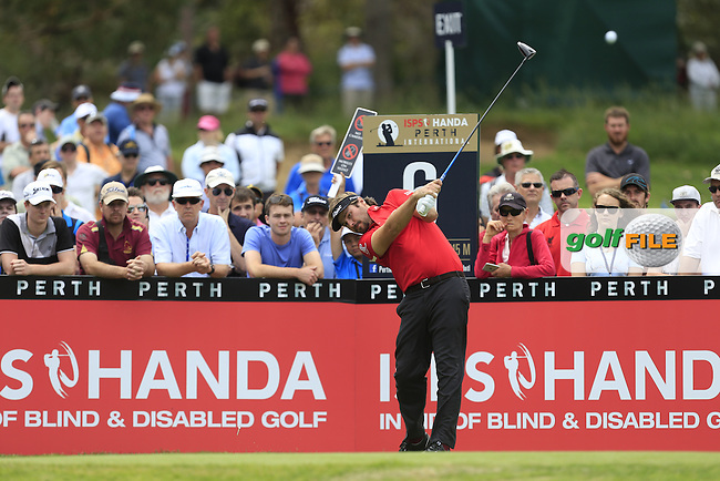 Victor Dubuisson (FRA) on the 6th tee during Round 3 of the ISPS HANDA Perth International at the Lake Karrinyup Country Club on Saturday 25th October 2014.<br /> Picture:  Thos Caffrey / www.golffile.ie