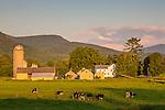 Last light on farmland in Rupert, Vermont, USA