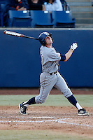 Grant Palmer #27 of the UC Irvine Anteaters bats against the Cal State Fullerton Titans at Goodwin Field on May 18, 2013 in Fullerton, California. Fullerton defeated UC Irvine, 3-2. (Larry Goren/Four Seam Images)