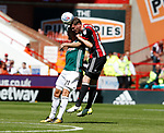 Richard Stearman of Sheffield Utd tussles with Lasse Vibe of Brentford during the English Championship League match at Bramall Lane Stadium, Sheffield. Picture date: August 5th 2017. Pic credit should read: Simon Bellis/Sportimage
