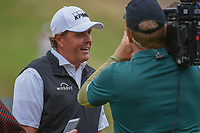 Phil Mickelson (USA) is interviewed after sinking an 8 foot putt on 18 to win his match over Satoshi Kodaira (JPN) during day 2 of the World Golf Championships, Dell Match Play, Austin Country Club, Austin, Texas. 3/22/2018.<br /> Picture: Golffile | Ken Murray<br /> <br /> <br /> All photo usage must carry mandatory copyright credit (&copy; Golffile | Ken Murray)