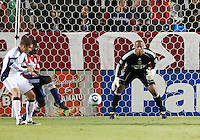 Chivas goalie Zach Thornton (22) focuses in on the ball during the second half of the game between Chivas USA and the New England Revolution at the Home Depot Center in Carson, CA, on September 10, 2010. Chivas USA 2, New England Revolution 0.
