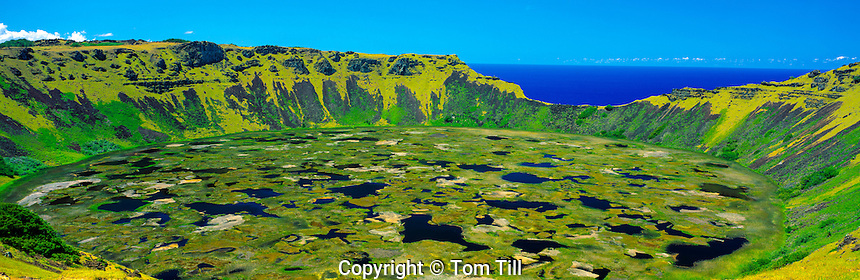 Rano Kau Crater  Easter Island, Chile  Rapa Nui National Park  Orongo area  South Pacific Ocean  Volcanic Crater  February