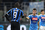 Diego Demme of Napoli shakes hands with Romelu Lukaku of Inter after the final whistle of the Coppa Italia match at Giuseppe Meazza, Milan. Picture date: 12th February 2020. Picture credit should read: Jonathan Moscrop/Sportimage