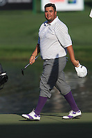 Joel Sjoholm (SWE) walks onto the 18th green during Sunday's Final Round of the 2012 Omega Dubai Desert Classic at Emirates Golf Club Majlis Course, Dubai, United Arab Emirates, 12th February 2012(Photo Eoin Clarke/www.golffile.ie)