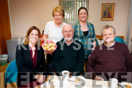 Noreen McElligott, Ita Behan, Colm Ó Chubhair, Eimear Carey and Vincent O'Sullivan, pictured on Friday morning last at the Coffee Morning, at St. John's Pastoral Centre, Tralee, in aid of the Kerry Hospice.