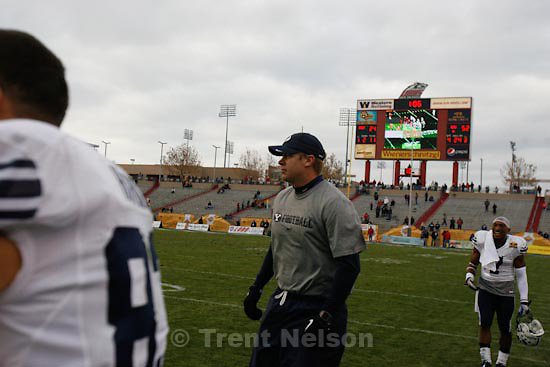 Trent Nelson  |  The Salt Lake Tribune.BYU coach Bronco Mendenhall dodges an attempt to soak him as BYU defeats UTEP in the New Mexico Bowl, college football Saturday, December 18, 2010 in Albuquerque, New Mexico.