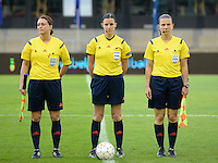 20140507 - LEUVEN , BELGIUM : Referees Andrea Hima (l) , Katalin Kulcsar (m) and Judit Kulcsar pictured during the female soccer match between Belgium and The Netherlands, on the eighth matchday in group 5 of the UEFA qualifying round to the FIFA Women World Cup in Canada 2015 at Stadion Den Dreef , Leuven . Wednesday 7th May 2014 .  PHOTO DAVID CATRY