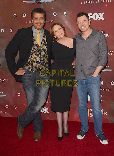 04 March 2014 - Los Angeles, California - Neil deGrasse Tyson, Ann Druyan, Seth MacFarlane.  &quot;Cosmos: A Spacetime Odyssey&quot; Premiere Screening at The Greek Theater in Los Angeles. <br /> CAP/ADM/BT<br /> &copy;Birdie Thompson/AdMedia/Capital Pictures