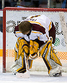 Jeff Frazee (University of Minnesota - Burnsville, MN) lines up. The University of Minnesota Golden Gophers defeated the Michigan State University Spartans 5-4 on Friday, November 24, 2006 at Mariucci Arena in Minneapolis, Minnesota, as part of the College Hockey Showcase.