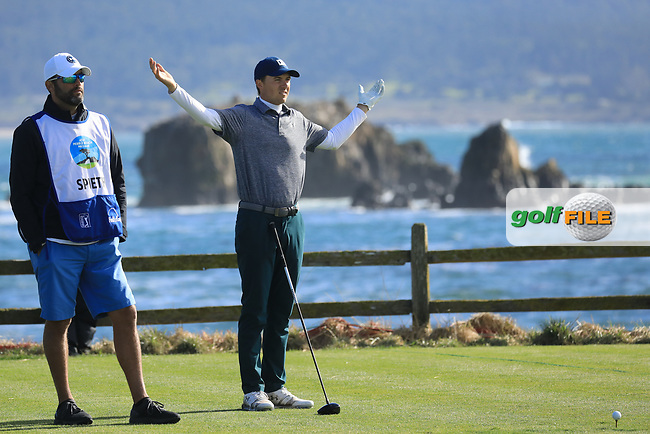 Jordan Spieth (USA) in action at Pebble Beach Golf Links during the third round of the AT&T Pro-Am, Pebble Beach Golf Links, Monterey, USA. 09/02/2019<br /> Picture: Golffile | Phil Inglis<br /> <br /> <br /> All photo usage must carry mandatory copyright credit (© Golffile | Phil Inglis)