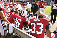 14 October 2006: Buzz Preston talks with the running backs Emeka Nnoli, Toby Gerhart, Anthony Kimble, Jason Evans and Nick Frank during Stanford's 20-7 loss to Arizona during Homecoming at Stanford Stadium in Stanford, CA.