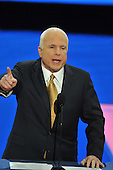 St. Paul, MN - September 4, 2008 -- United States Senator John McCain (Republican of Arizona) accepts his party's nomination as President of the United States on day 4 of the 2008 Republican National Convention at the Xcel Energy Center in St. Paul, Minnesota on Thursday, September 4, 2008..Credit: Ron Sachs / CNP.(RESTRICTION: NO New York or New Jersey Newspapers or newspapers within a 75 mile radius of New York City)