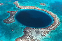 nr70840-D. The Blue Hole, a collapsed cavern, now submerged. 480 feed deep and 1000 feet across. A world famous dive site. Lighthouse Atoll, Belize, Caribbean Sea. <br /> Photo Copyright &copy; Brandon Cole. All rights reserved worldwide.  www.brandoncole.com