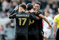 LOS ANGELES, CA - MARCH 01: Carlos Vela #10 of LAFC scores a goal and celebrates as teammate Latif Blessing #7 joins in on the fun during a game between Inter Miami CF and Los Angeles FC at Banc of California Stadium on March 01, 2020 in Los Angeles, California.