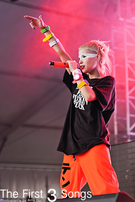 Yo-Landi Vi$$er (aka. Yolandi Visser, Anri du Toit) of Die Antwoord performs during the The Voodoo Experience at City Park in New Orleans, Louisiana.