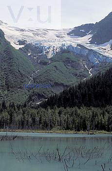 Explorer Glacier, a hanging glacier, above Explorer Lake, Portage Glacier Recreation Area, Chugach National Forest, Alaska, USA.