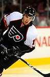 15 November 2008:  Philadelphia Flyers' right wing forward Andreas Nodl from Austria warms up prior to a game against the Montreal Canadiens in their first meeting in Montreal since the Flyers knocked the Canadiens out of the playoffs last season. The Canadiens, celebrating their 100th season, fell to the visiting Flyers 2-1 at the Bell Centre in Montreal, Quebec, Canada. ***Editorial Sales Only***..Mandatory Photo Credit: Ed Wolfstein Photo *** Editorial Sales through Icon Sports Media *** www.iconsportsmedia.com