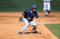 Ty Andrus (3) of the Wingate Bulldogs takes his lead off of second base against the Catawba Indians at Newman Park on March 19, 2017 in Salisbury, North Carolina. The Indians defeated the Bulldogs 12-6. (Brian Westerholt/Four Seam Images)