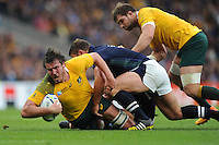 Kane Douglas of Australia is brought down just short of the line during the Quarter Final of the Rugby World Cup 2015 between Australia and Scotland - 18/10/2015 - Twickenham Stadium, London<br /> Mandatory Credit: Rob Munro/Stewart Communications