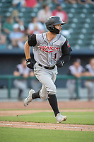 Arkansas Travelers outfielder Aaron Knapp (1) runs to first during a Texas League game between the Northwest Arkansas Naturals and the Arkansas Travelers on May 30, 2019 at Arvest Ballpark in Springdale, Arkansas. (Jason Ivester/Four Seam Images)