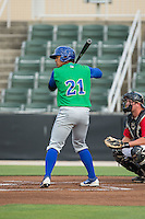 Alfredo Escalera-Maldonado (21) of the Lexington Legends at bat against the Kannapolis Intimidators at CMC-Northeast Stadium on May 26, 2015 in Kannapolis, North Carolina.  The Intimidators defeated the Legends 4-1.  (Brian Westerholt/Four Seam Images)