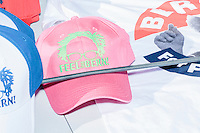Hats and t-shirts and other merchandise are available for sale after Vermont senator and Democratic presidential candidate Bernie Sanders spoke to senior citizens at the Peterborough Community Center gymnasium in Peterborough, New Hampshire.
